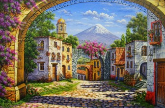 town-and-volcano-viewed-through-arch by