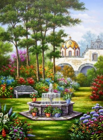 garden, church, fountain, flowers, flora