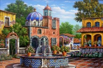 patio-with-fountain by Arturo Zarraga