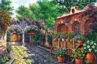 cobbled-street-with-flower-wagon by Arturo Zarraga