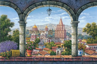 town-landscape-through-arches by Arturo Zarraga