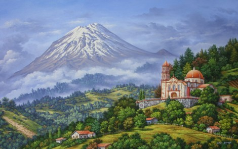 volcano-in-landscape-with-church