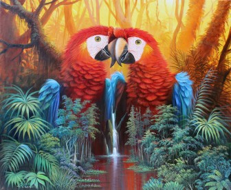 parrot-waterfall-fantasy by