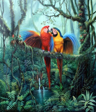 romantic-parrots-above-jungle-waterfall by
