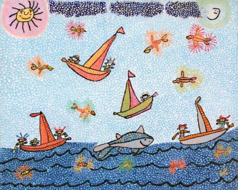 shark-among-sailboats