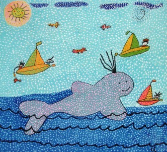 whale-with-sailboats by María del Carmen Ramírez