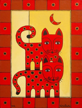spotted-cats-with-moon by Víctor Peralta