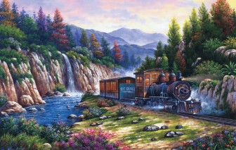 Train Following the River by