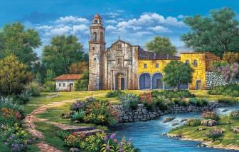 Church by the River by Arturo Zarraga