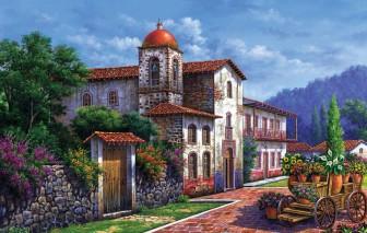 Flower Cart in front of Church by Arturo Zarraga