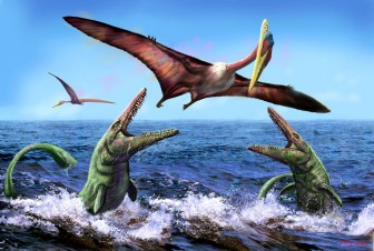 Encounter between Mosasaurs and the airborne Quetzalcoatlus by Luis V Rey