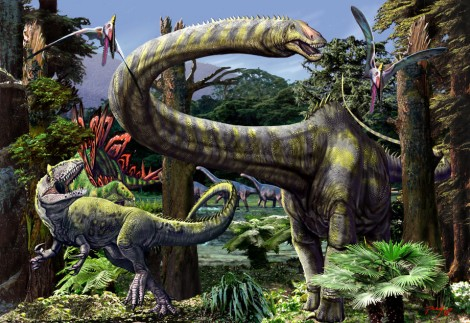 Forest populated by Pterodactylus Diplodocus Allosaurus Stegosaurus and Camarasaurus