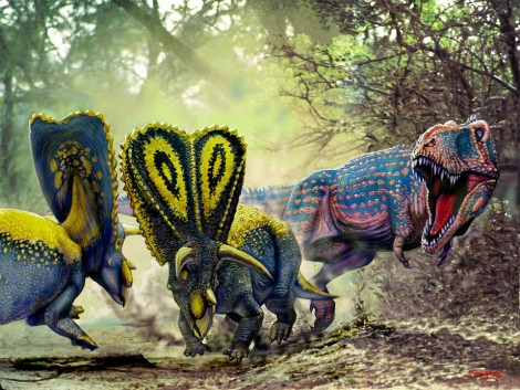 T-rex stalking a pair of Torosaurus