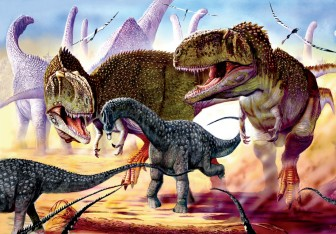 Two Mapausarus prey on young Argentinosaurus by Luis V Rey