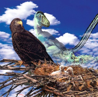 Ancestor-Dreaming Golden Eagle parent reflects on its ancestor the Deinonychus by
