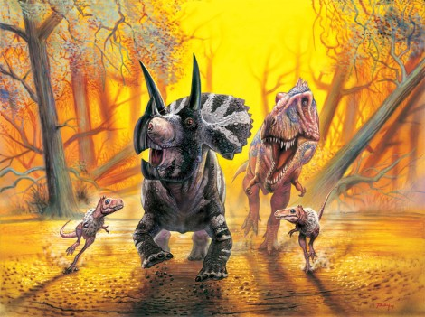Triceratops fleeing T-rex family