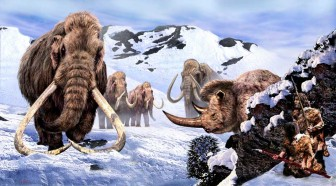Stalking the Giants, Ice-Age hunting scene by Luis V Rey
