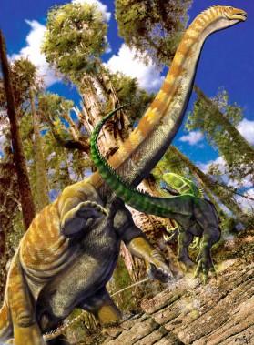 Grazing Supersaurus attacked by Torvosuarus by Luis V Rey