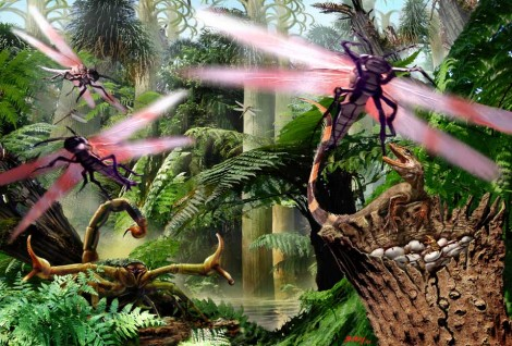 Predators attack in a Carboniferous Jungle
