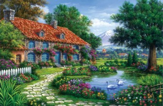 Rustic Cottage with Swans by