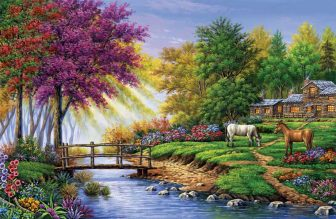 log cabin with stream and horses by