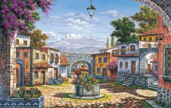 town-and-volcano by