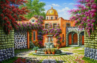 patio-church-and-fountain by Arturo Zarraga