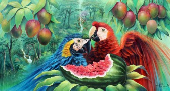 parrots-with-watermelon-and-mangos by