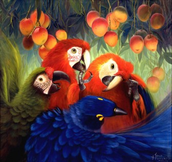 parrots-with-mangos by