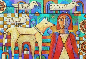 lady-with-dog-and-birds by Víctor Peralta