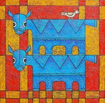 blue-cows-and-bird by Víctor Peralta