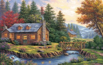 Log Cabin by the River by Arturo Zarraga