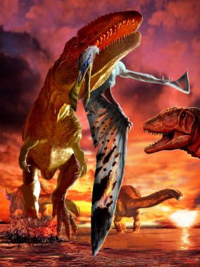 Ornithocheirus captured by a Carcharodontosaurus with Paralititan in background by