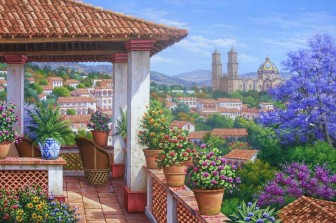 Balcony with Flowers by