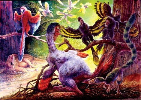 Caudipteryx and Psittacosaurus defending their nests from Jixiangornis, Jeholornis and Sinosauropteryx