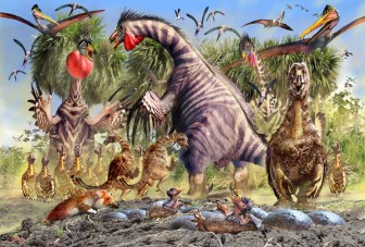 The Rookery Therizinosaurus families and circling Pterosaurs by Luis V Rey