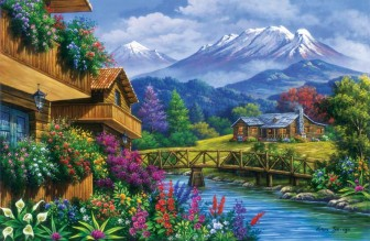 Mountains Overlooking Chalets Log Cabin Stream and Bridge by