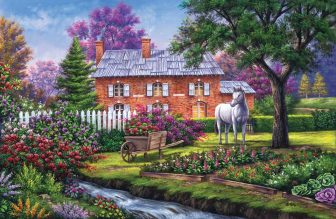 brick cottage with stream and horse by