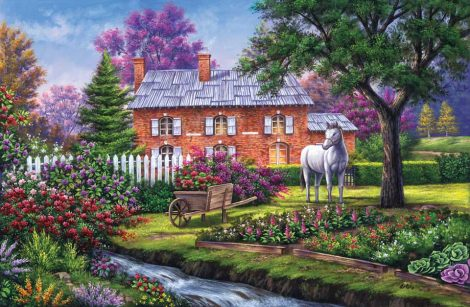 brick cottage with stream and horse